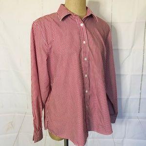 Foxcroft Shirt Size 18 Red White Stripe Cotton